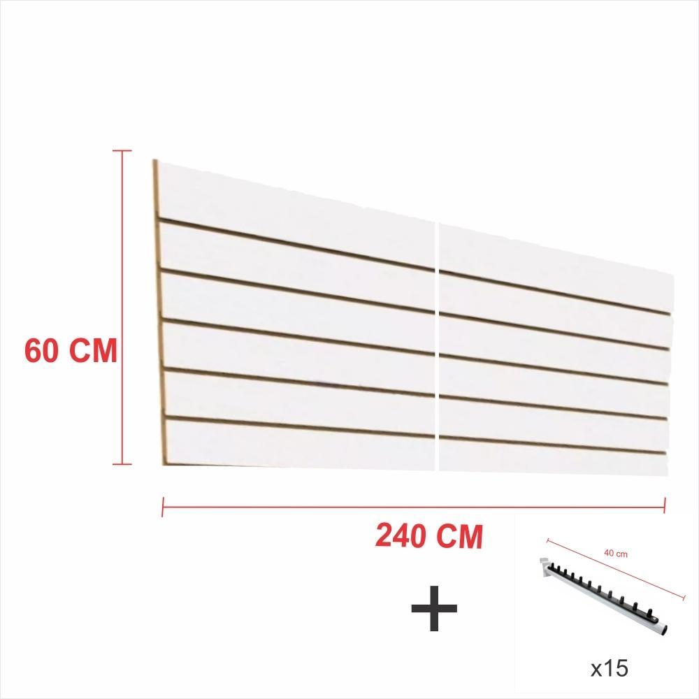 Expositor canaletado branco alt 60 cm comp 240 cm mais 15 ganchos rt 40 cm para roupas
