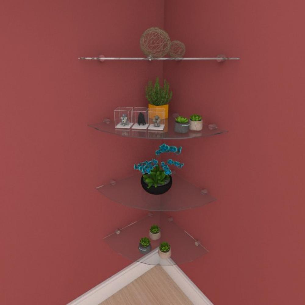 Kit com quatro Prateleira para sala de canto 40 cm vidro temperado