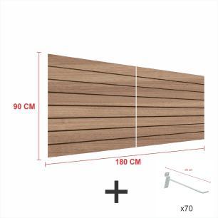 Kit Painel canaletado amadeirado alt 90 cm comp 180 cm mais 70 ganchos 20 cm