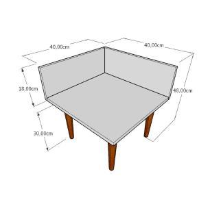 Mesa de Cabeceira simples em mdf amadeirado escuro com 4 pés retos em madeira maciça cor mogno
