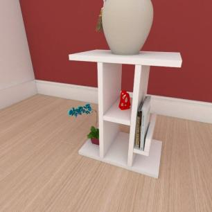 Mesa de cabeceira slim com prateleira em mdf branco