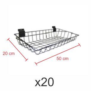 Kit com 20 Cestos para painel canaletado 20x50 cm preto