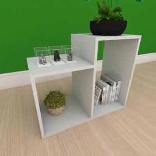 Mesa Lateral simples com 2 nicho em mdf cinza