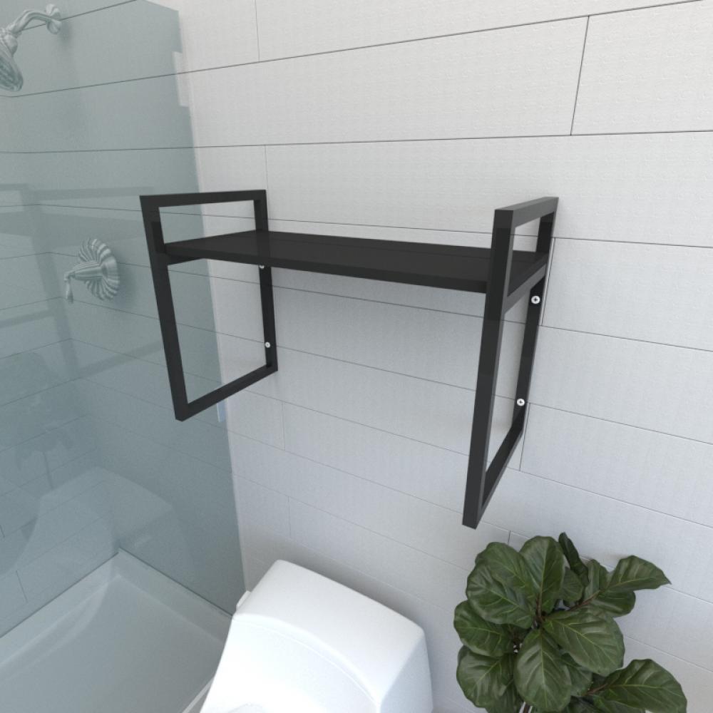 Prateleira industrial para banheiro aço cor preto prateleiras 30cm cor preto modelo ind03pb