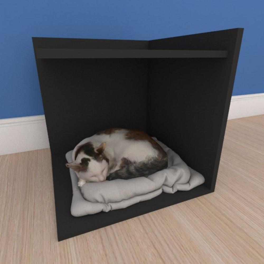 Mesa de cabeceira caminha pequeno gato em mdf preto