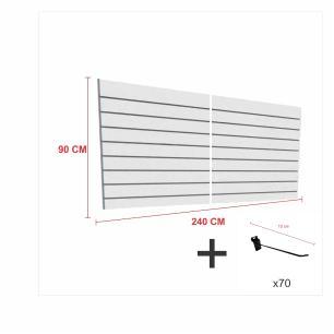 Expositor canaletado cinza alt 90 cm comp 240 cm mais 70 ganchos 10 cm