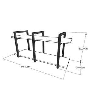 Mini estante industrial para sala aço cor preto prateleiras 30cm cor branca modelo ind23beps