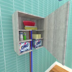 Armário multi uso para lavanderia, em mdf Rustico