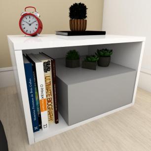 Estante de Livros moderna cinza com branco