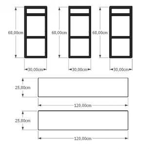 Aparador industrial aço cor preto mdf 30 cm cor amadeirado claro modelo ind13acapr