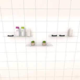 Kit com tres Prateleira para banheiro 50 cm vidro temperado