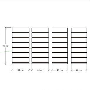 Kit 4 Painel canaletado para pilar preto 2 peças 44(L)x90(A)cm + 2 peças 40(L)x90(A)cm