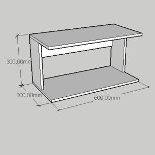Mesa de cabeceira suspensa simples em mdf branco