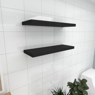 Kit 2 prateleiras para banheiro em MDF suporte Inivisivel preto 60x20cm modelo pratbnp29