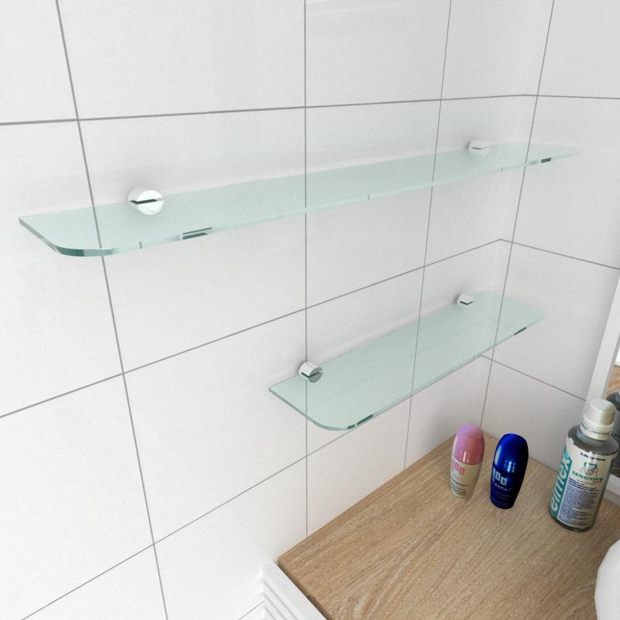 kit com 2 Prateleira de vidro temperado para banheiro 1 de 40(C)x8(P)cm 1 de 60(C)x8(P)cm