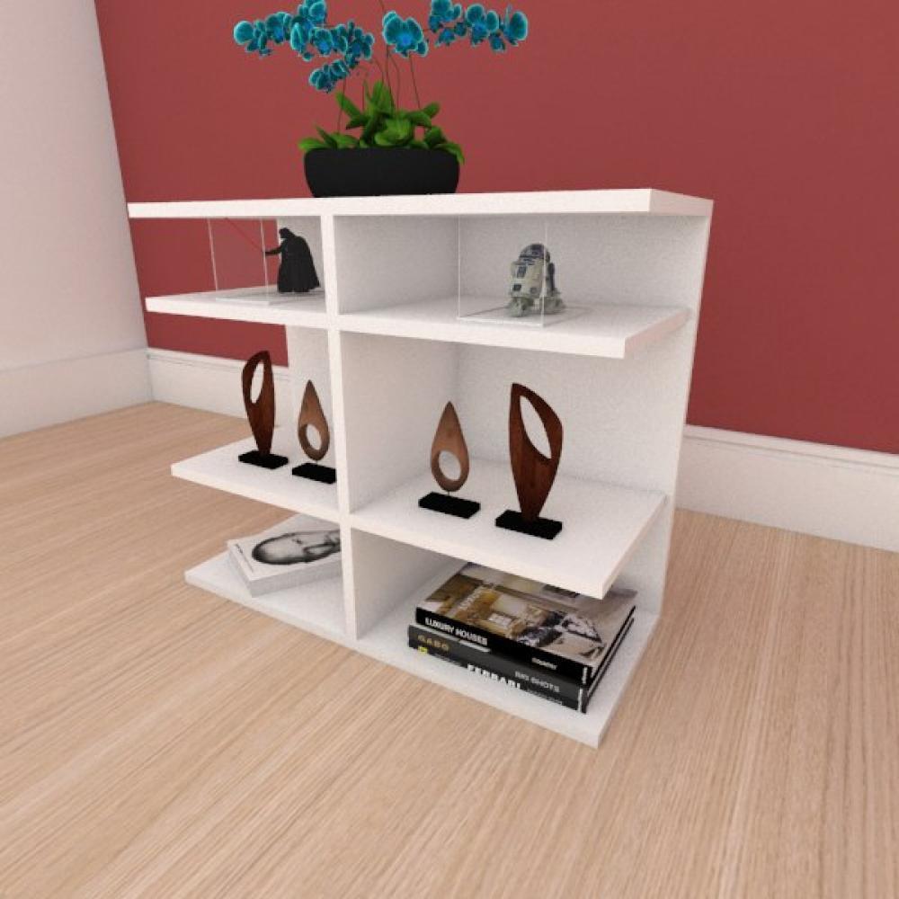 Mesa Lateral minimalista com divisor em mdf branco