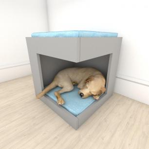 Mesa de cabeceira caminha casinha para cachorro em mdf Cinza