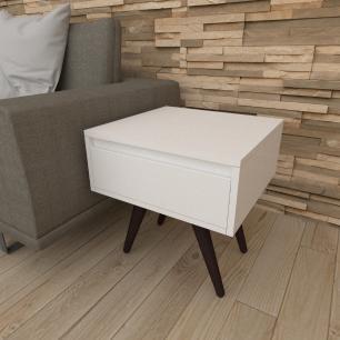 Mesa lateral com gaveta em mdf branco com 4 pés inclinados em madeira maciça cor tabaco