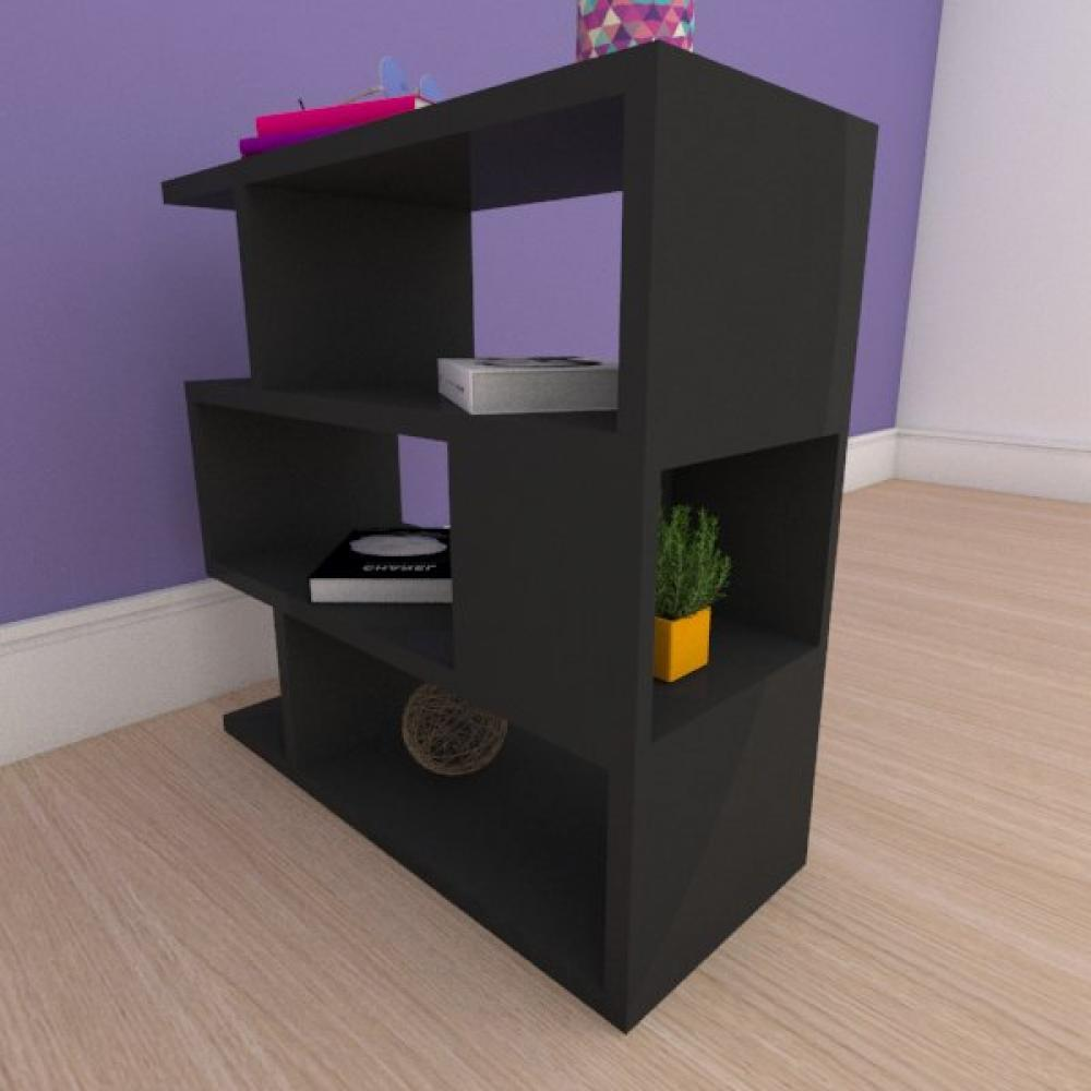 Mesa de cabeceira compacta tripla com nichos em mdf preto