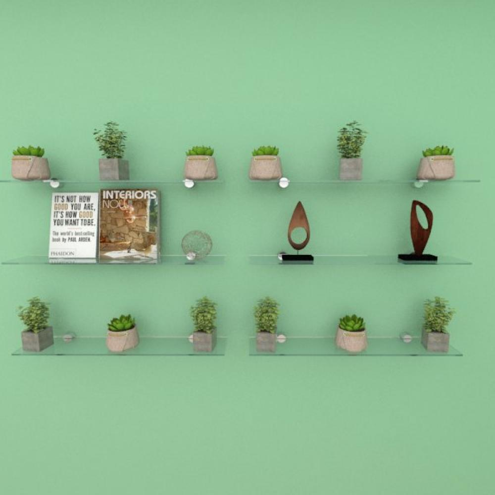 Kit com seis Prateleira para escritório 50 cm vidro temperado
