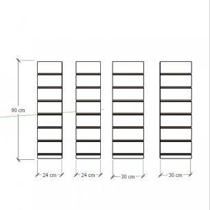 Kit 4 Painel canaletado para pilar azul escuro 2 peças 24(L)x90(A)cm + 2 peças 30(L)x90(A)cm