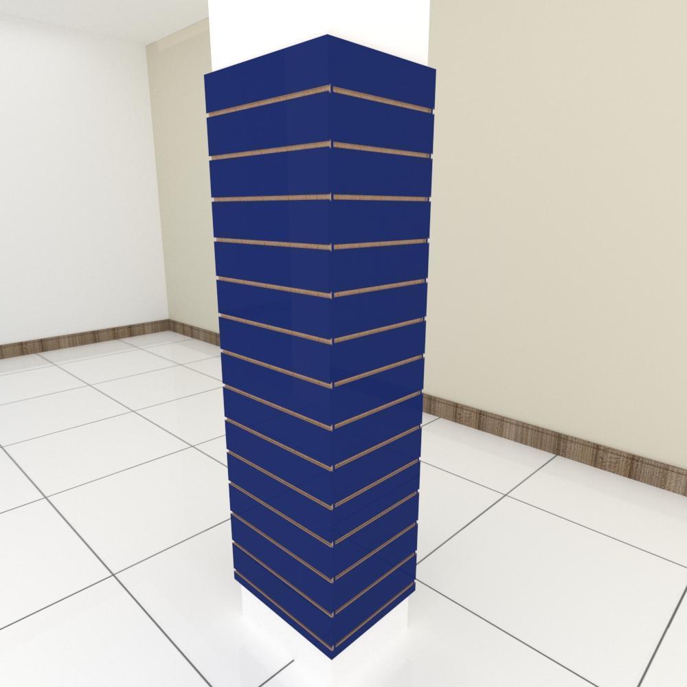 Kit 4 Painel canaletado para pilar azul escuro 2 peças 54(L)x180(A)cm + 2 peças 40(L)x180(A)cm