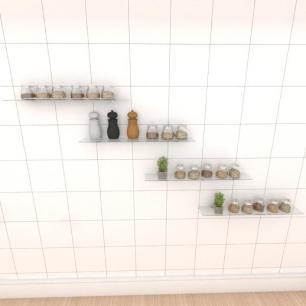 Kit com quatro Prateleira para cozinha 60 cm vidro temperado