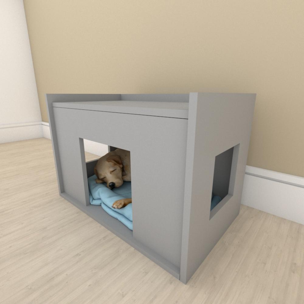 Mesa de cabeceira bercinho casinha para cachorro em mdf Cinza