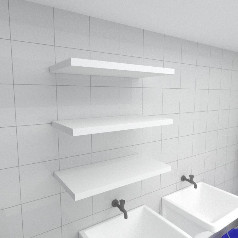 Kit 3 prateleiras para lavanderia em MDF suporte Inivisivel branco 60x30cm modelo pratlvb24