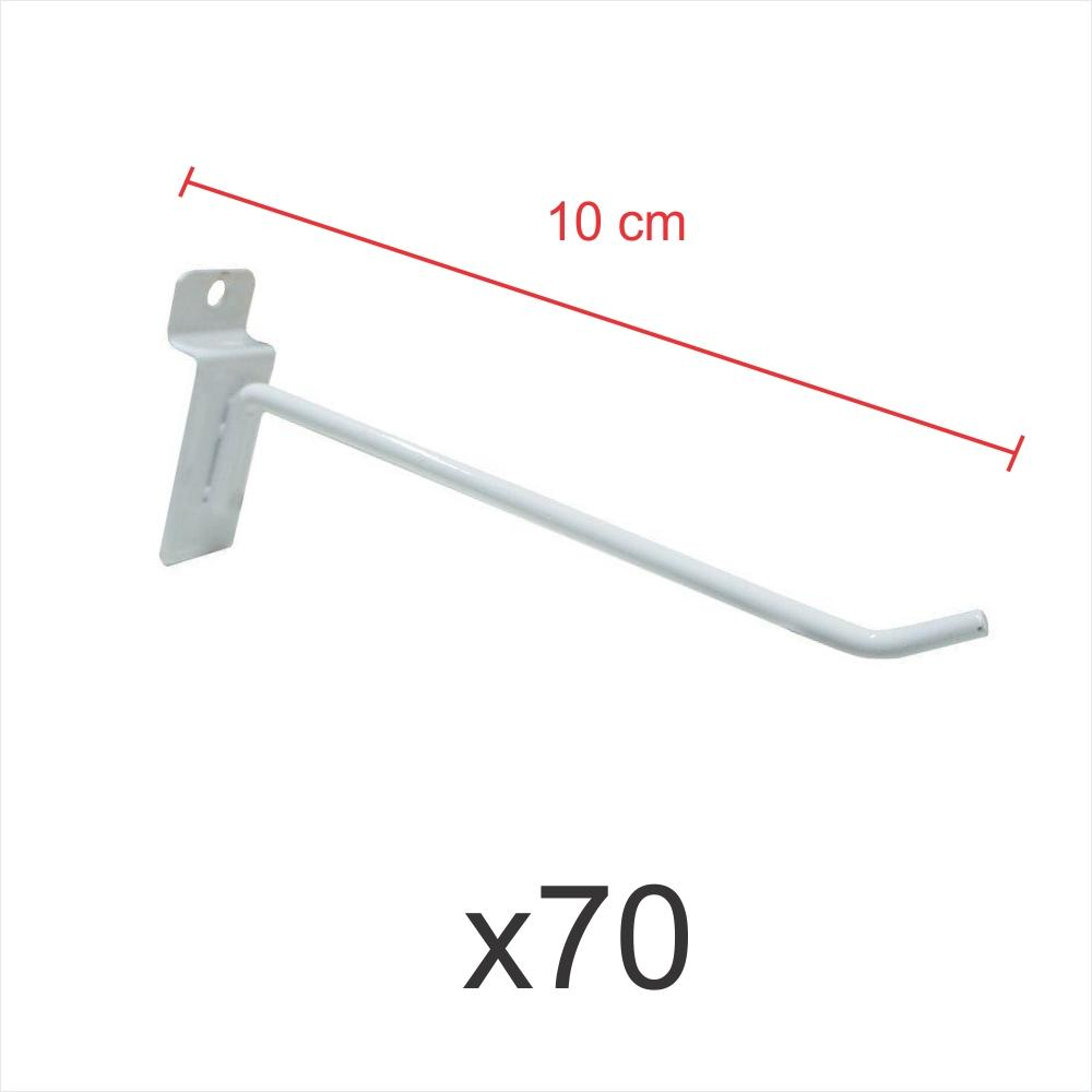 kit para expositor com 70 ganchos 4mm branco de 10 cm para painel canaletado