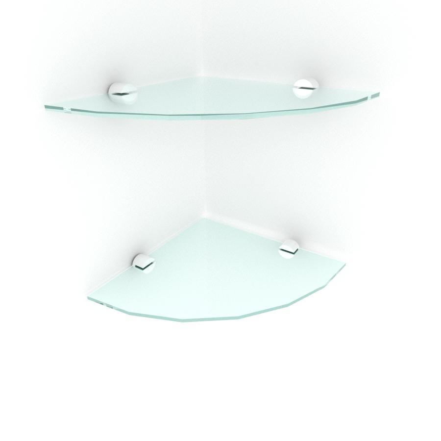 kit com 2 Prateleira para canto de vidro temperado para escritorio profundidade 20 cm