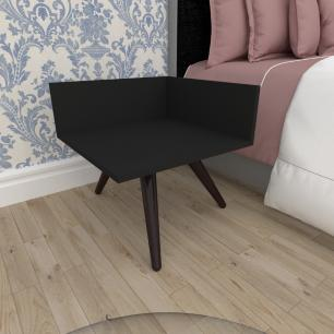 Mesa de Cabeceira simples em mdf preto com 3 pés inclinados em madeira maciça cor tabaco