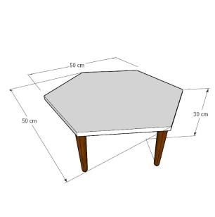 Mesa de Centro hexagonal em mdf amadeirado escuro com 4 pés retos em madeira maciça cor mogno