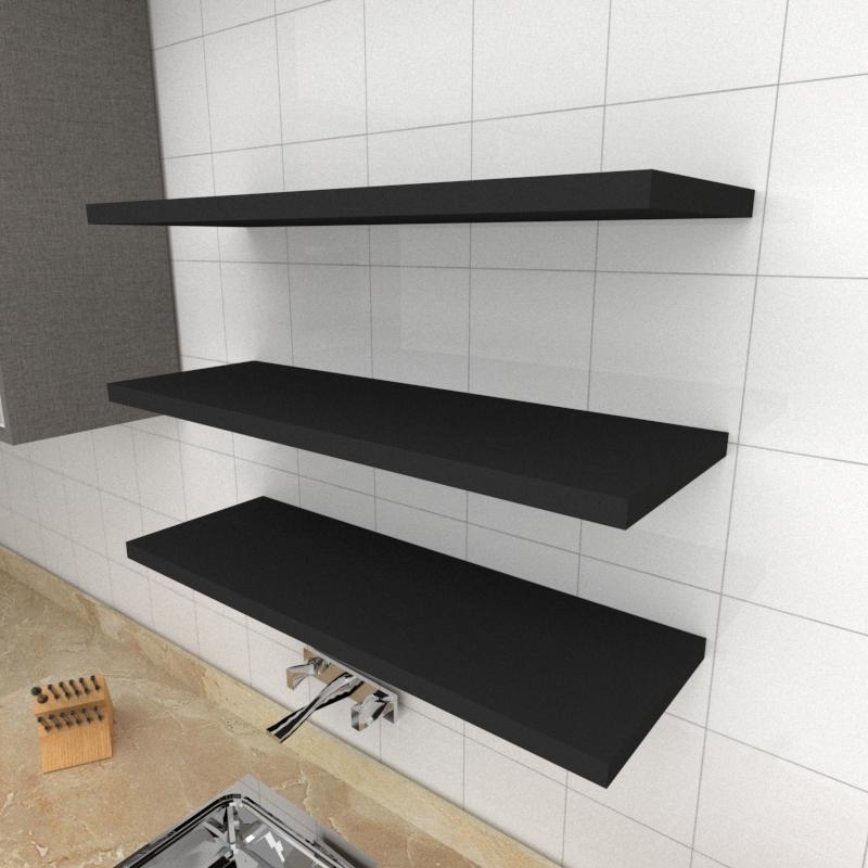 Kit 3 prateleiras para cozinha em MDF suporte Inivisivel preto 90x30cm modelo pratcp21