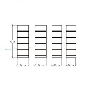 Kit 4 Painel canaletado para pilar branco 2 peças 24(L)x60(A)cm + 2 peças 20(L)x60(A)cm