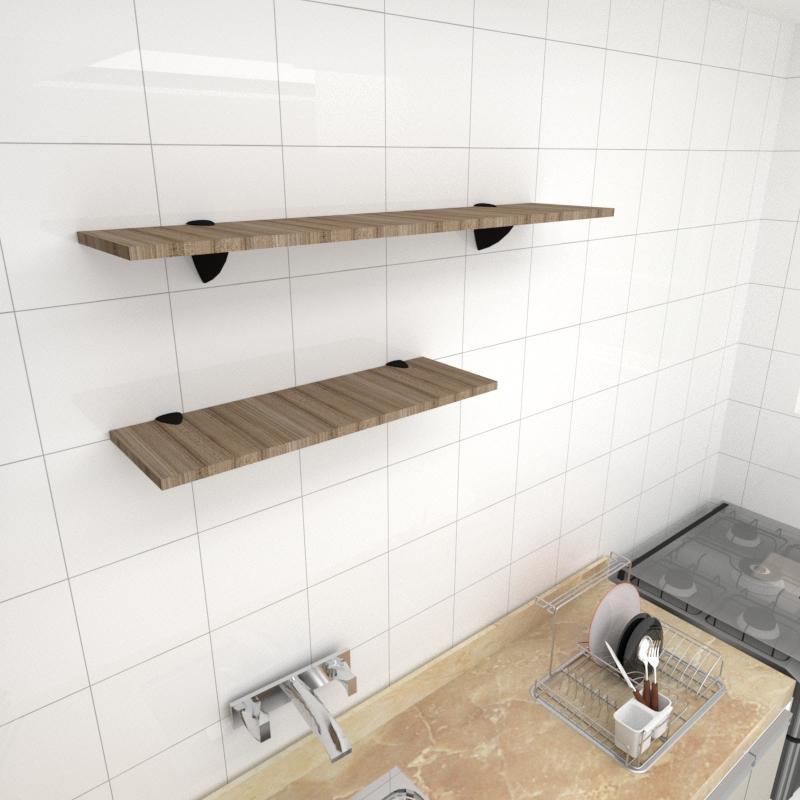 Kit 2 prateleiras cozinha MDF suporte tucano amadeirado escuro 1 60x20cm 1 90x20cm mod pratcame17