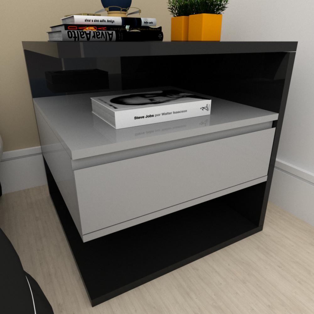 A01 Mesa de cabeceira moderna cinza com preto