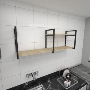 Prateleira industrial para cozinha aço cor preto prateleiras 30cm cor amadeirado claro mod ind07acc