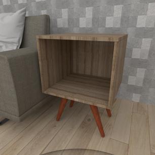 Mesa lateral moderna em mdf amadeirado escuro com 4 pés inclinados em madeira maciça cor mogno