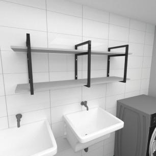 Prateleira industrial para lavanderia aço cor preto prateleiras 30 cm cor cinza modelo ind05clav