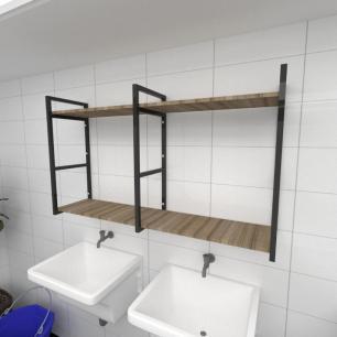 Prateleira industrial para lavanderia aço cor preto mdf 30cm cor amadeirado escuro modelo ind13aelav