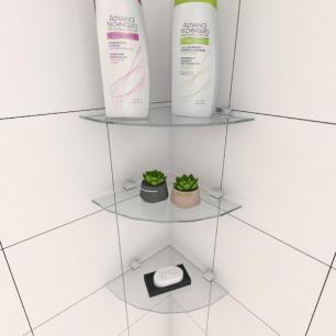 Kit com tres Prateleira para banheiro de canto 20 cm vidro temperado