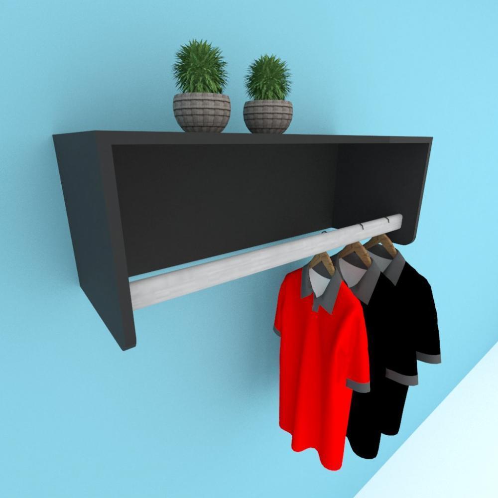 Kit com 2 Prateleira cabide para closet, mdf preto