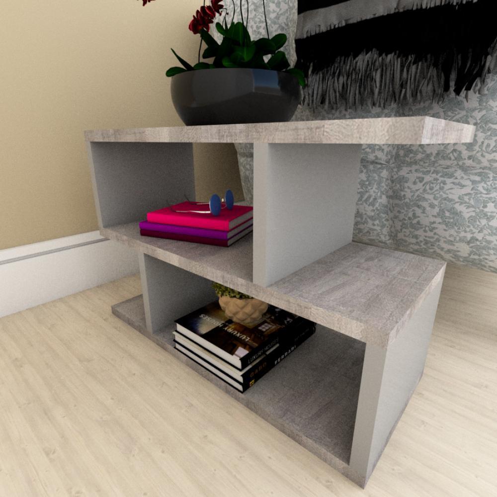 Mesa Lateral para Sofá moderna rustico com cinza