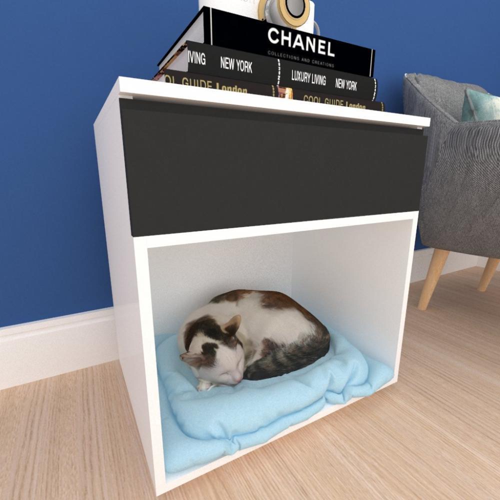 Casinha caminha gato com gaveta mdf branco com preto