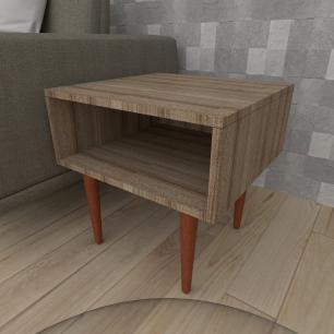 Mesa lateral em mdf amadeirado escuro com 4 pés retos em madeira maciça cor mogno