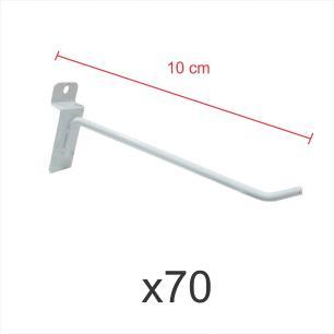 Kit com 70 ganchos 4mm branco de 10 cm para painel canaletado