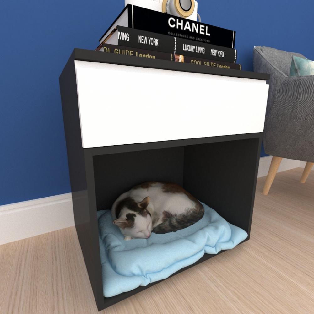 caminha criado gato gaveta mdf preto branco
