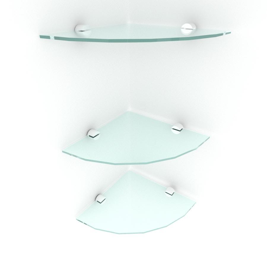 kit com 3 Prateleira para canto de vidro temperado para escritorio profundidade 20 cm
