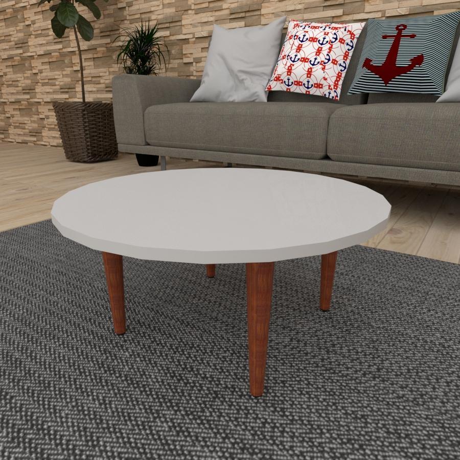 Mesa de Centro redonda em mdf cinza com 4 pés retos em madeira maciça cor mogno
